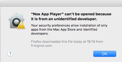 Impossible d'ouvrir NoxPlayer sur Mac - étape 1